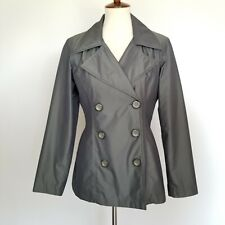 Jones New York Womens Trench Coat Gray S Jacket Double Breasted Gray Gunmetal