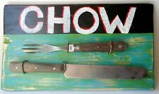 "Jeff Brown artwork found objects assemblage collage original unique ""CHOW"""