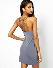BRANDED Ladies  Chain Back Cami Dress in Charcoal Grey UK 10
