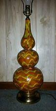 Vintage Mid Century Modern Green Yellow Orange Drip Glaze Lamp; Triple Gourd