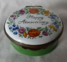 Crummles & Co. Oval Floral Happy Anniversary Enamel Trinket Pill Box