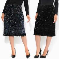 Womens Ladies Sequin Midi Skirt Elasticated Waist Knee Length Party Evening
