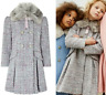 Girls Monsoon Grey Sparkle Tabitha Tweed School Coat Fur Dress Age 3 to 13 Years