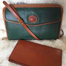 ❤️ Vintage DOONEY & BOURKE Ivy Green AWL Zip-Along Crossbody Wallet Purse #10