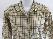 Abercrombie & Fitch Yellow Long Sleeve Plaid  Button Down Shirt Blouse Cotton L