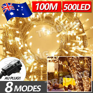 100M Waterproof Christmas Fairy String Lights Warm White 500LED Wedding Garden
