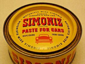 Vintage Simoniz Paste for Cars Automobile Wax 7 Oz Tin Can Ford Chevy Chicago Il