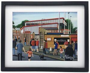 Altrincham F.C, Moss Lane. High Quality Framed Football Art Print. Approx A4.