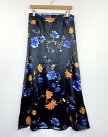 Vintage 90s Womens Maxi Skirt Satin Floral Black High Waist Size 12 AU