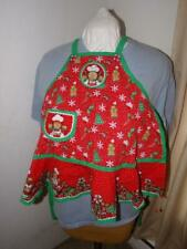 New listing Handmade Cotton Full Childs Apron-Green & Red Christmas/Gingerbread