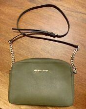 Michael Kors Jet Set Leather Crossbody Bag Medium Olive Green