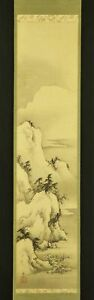 JAPANESE HANGING SCROLL ART Painting Sansui Lansdcape Asian antique  #E6264