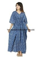 Hand Block Print Indigo Blue Free Size Kaftan Tunic Holiday Dress Beach Cover