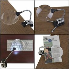 LED Lighted 5x Magnifier Flexible Hand Desk Table Clamps Lens Reading Loupe