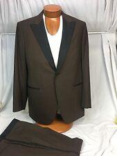 * ISAIA Napoli * Natural Black Sheep Wool Tuxedo Suit BROWN/Black Trim Size 46R