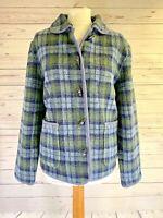ORVIS Plaid Fleece Cardigan Toggle Jacket Womens Medium: Blue Green Tartan Check