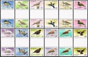 St Kitts O11-O22 OFFICIAL gutter,MNH. Birds 1981.Caribs,Banana-quit,Thrasher