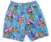 Tommy Hilfiger Mens 33 Shorts Chinos Hawaiian Palm Trees Sail Boats 100% Cotton