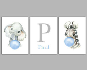 Baby Animals Blowing Bubbles Personalised Boys Nursery Prints Children's Bedroom