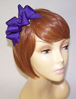 PURPLE PRETTY RIBBON BOW BARRETT HAIR CLIP FOR THE RED HAT LADY OF THE SOCIETY