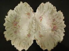 DRESDEN DOUBLE SIDED BOWL DISH DRESDEN Germany Pink Floral Gold embellished