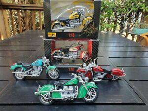 Lot of 5 Die Cast and Plastic 1:18 Motorcycle Models Harley Davidson, Indian...
