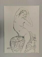 GUSTAV KLIMT,'SEATED NUDE,1914-16',NACHLASS, RARE 1990's SILKSCREEN ART PRINT