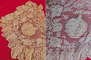 Victorian Antique Tambour Embroidery Net Lace Raised Flowers Collar Dress Trim
