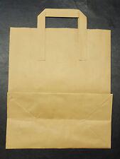 "50 x LARGE KRAFT BROWN PAPER SOS CARRIER BAGS 10"" x 12"" x 5.3"""