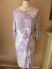 BNWT. M&S SIZE 18 LONG . BEAUTIFUL GREY FLORAL DRAPED STRETCH DRESS.