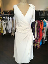 Valentino Sz 6 Ivory Crepe Flower Draped V Neck Dress
