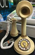 Vintage Deco-tel Rotary Candlestick Telephone 70s Gold Dial Phone Decor