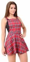Womens Red Tartan Pinafore Short Mini Bodycon Dungaree Ladies Skirt Dress