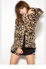 Women's Fashion Leopard Long Sleeve With Hat Warm Faux Fur Coat Jacket