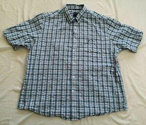 James Pringle Men's Blue Check Short Sleeve Shirt Size XXL Good Used Condition