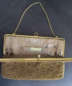 Bronze Beaded evening purse Bag Vintage Retro Handbag