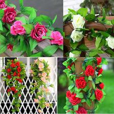 8Ft Artificial Rose Garland Fake Silk Flower Ivy Vine Hanging Wedding Home Decor