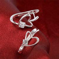 Women Fashion 925 Solid Silver Crystal Rhinestone Elegant Ear Stud Earrings new