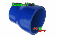 """Blue Silicone hose straight reducer, coupler, turbo 2.5""""-2"""" / 63mm-51mm new"""