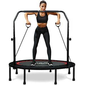 """48"""" Adjustable Fitness Trampoline Rebounder Workout Exercise W/resistance Bands"""
