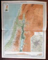 Palestine Holy Land Israel Jerusalem plan elevations c. 1920 large detailed map
