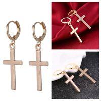 Fashion Women Drop Earrings Cross Vintage Silver Gold Alloy Simple Ear Ring Gift