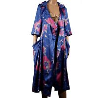 Womens Ladies Designer Nancy Pop 100% Silk Pink Blue Floral Kimono Jacket Pocket
