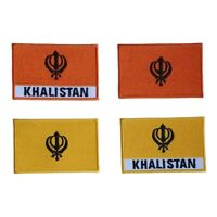 Khalistan Flag Embroidered Patch Iron on Sew On Badge For Clothes Bags etc
