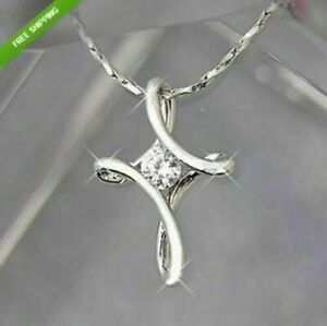 Women Fashion Jewelry925 Sterling Silver Plated Infinity Cross NecklaceFREE SHIP