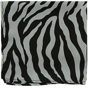 New polyester zebra animal print pocket square hankie handkerchief gray formal