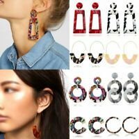 Fashion Geometric Acrylic Resin Boho Dangle Hook Stud Earrings Party Women Gift