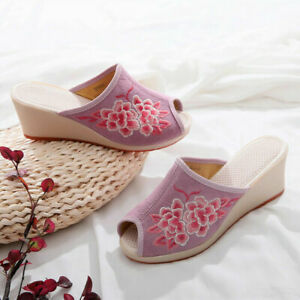 Womens Peep Toe Slippers Manual Embroidered Wedge Heels Outdoor Sandals Shoes
