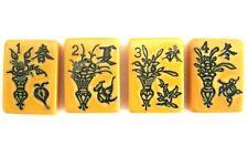 Vintage Set of 4 Catalin Flower Mah Jongg Tiles