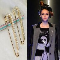 Fashion Crystal Pearl Safety Pin Brooch Clip Ladies Scarf Coat Gown Accessories